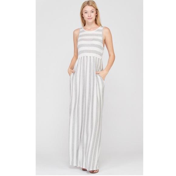 90b9187fac01 Dresses | Last Small Sleeveless Grey Stripe Maxi Dress | Poshmark